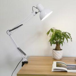 Лампа Настольная на струбцинном креплении, круглый плафон, 38х37х17см, белая
