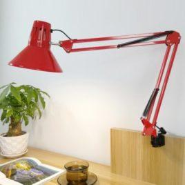 Лампа Настольная на струбцинном креплении, конусный плафон, 38х37х17см, красная