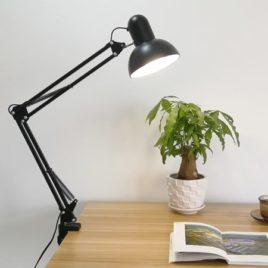 Лампа Настольная на струбцинном креплении, круглый плафон, 38х37х17см, черная