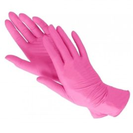 Перчатки нитриловые, розовые 50шт Salontool.ru