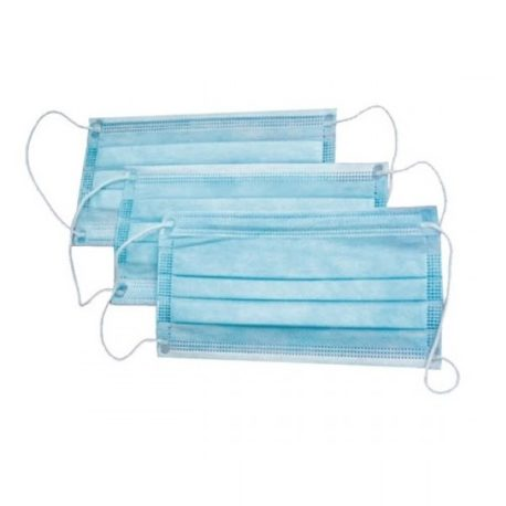 Маска защитная 3-х слойная на резинках, голубая