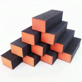 Бафы для маникюра шлифовальный, оранжевый с черным, 10шт