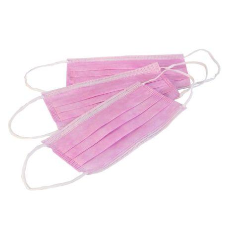 Маска защитная 3-х слойная на резинках, розовые