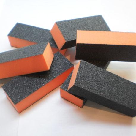Баф для маникюра шлифовальный, оранжевый с черным, 1шт