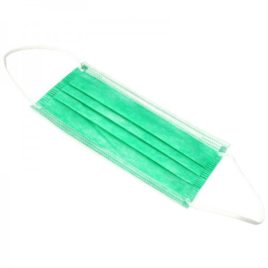 Маска защитная 3-х слойная на резинках, зеленые