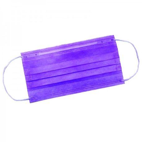 Маска защитная 3-х слойная на резинках, фиолетовая-Salontool.ru