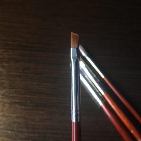 Кисть для дизайна Nail Art №2 скошенная, норка, деревянная ручка, 1шт