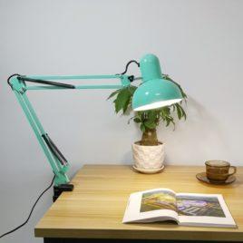 Лампа Настольная на струбцинном креплении, круглый плафон, 38х37х17см, мятная
