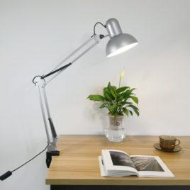 Лампа Настольная на струбцинном креплении, круглый плафон, 38х37х17см, серебристая