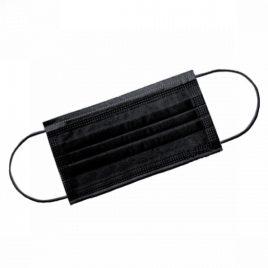 Маска защитная 3-х слойная на резинках, черная с угольным фильтром -Salontool.ru