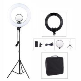 Лампа кольцевая Ring Light R-48B AC 18' 48W с зеркалом сумкой и штативом Salontool.ru