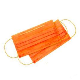 Маска защитная 3-х слойная на резинках, оранжевая 50шт на Salontool.ru