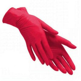 Перчатки нитриловые, красные M, 100шт на Salontool.ru
